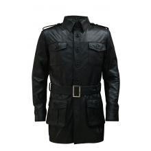 Alkes Genuine Leather Trench Coat