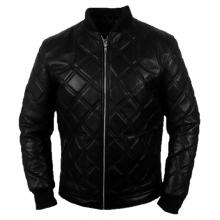 Aerglo Quilted Style Bomber Casual Wear Genuine Leather Jacket