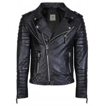 Nash Quilted with Pattern Sleves Brando Style biker Leather Jacket