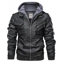 Caelum Removable Hooded Casual Wear Genuine Leather Bomber Jacket