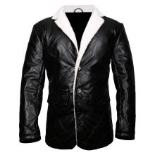 Trench Coat Style Faux Shearling Genuine Leather Blazer Jacket