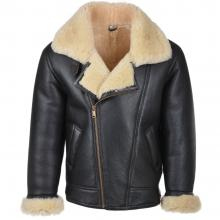 Vintage Army Fighter Pilot Style Faux Shearling Genuine Leather Jacket