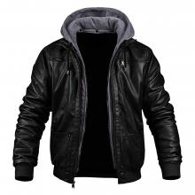Hooded Casual Biker Wear Bomber Genuine Leather Jacket with Ribbed Knits