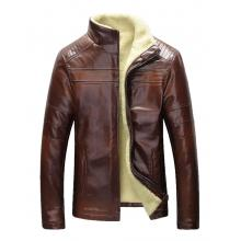 Brando Style with Pattern Shoulders Faux Shearling Genuine Leather Jacket