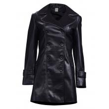 Cordelia Classic Button Down Leather Trench Coat