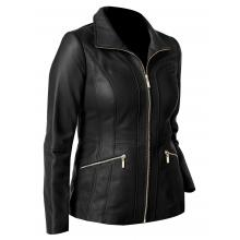 Astra Classic Biker Leather Lines Pattern Casual Wear Style Women Leather Jacket