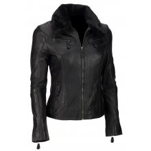 Helene Classic Biker Casual Wear Genuine Leather Jacket with Remavable Fur Collar