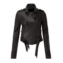 Carina Fighter Quilted Padding Fashion Women Biker Leather Jacket